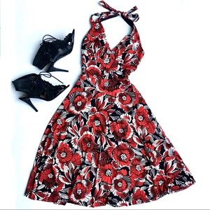 My Michelle Red B&W Halter Top Swing Dress size S